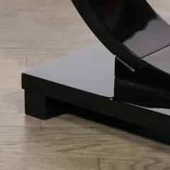 Art Deco Machine Age Two Tier Black Lacquer Vitrolite Demilune Side Table - 2004871