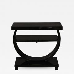 Art Deco Machine Age Two Tier Black Lacquer Vitrolite Demilune Side Table - 2010068