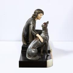 Art Deco Onyx Bone Silver Pewter Lady w Greyhounds Sculpture After Chiparus - 2143749