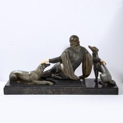 Art Deco Onyx Bone Silver Pewter Lady w Greyhounds Sculpture After Chiparus - 2143755