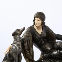 Art Deco Onyx Bone Silver Pewter Lady w Greyhounds Sculpture After Chiparus - 2143765