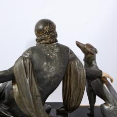 Art Deco Onyx Bone Silver Pewter Lady w Greyhounds Sculpture After Chiparus - 2143779