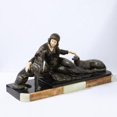 Art Deco Onyx Bone Silver Pewter Lady w Greyhounds Sculpture After Chiparus - 2143798