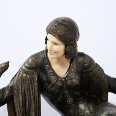 Art Deco Onyx Bone Silver Pewter Lady w Greyhounds Sculpture After Chiparus - 2143810