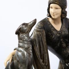 Art Deco Onyx Bone Silver Pewter Lady w Greyhounds Sculpture After Chiparus - 2143815