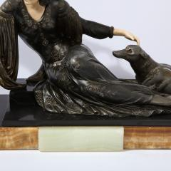 Art Deco Onyx Bone Silver Pewter Lady w Greyhounds Sculpture After Chiparus - 2143822