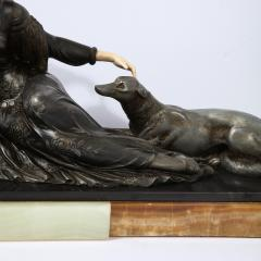 Art Deco Onyx Bone Silver Pewter Lady w Greyhounds Sculpture After Chiparus - 2143831