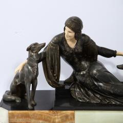 Art Deco Onyx Bone Silver Pewter Lady w Greyhounds Sculpture After Chiparus - 2143834