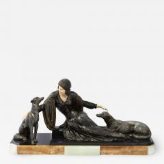 Art Deco Onyx Bone Silver Pewter Lady w Greyhounds Sculpture After Chiparus - 2144786