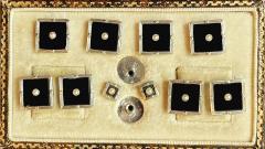 Art Deco Onyx Gold Cufflinks Studs Tuxedo Set in fitted box English C 1920 - 1971690
