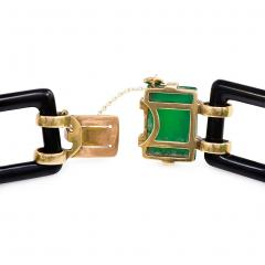 Art Deco Onyx Link and Chrysophrase Bracelet - 722279