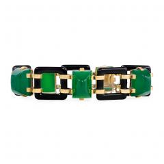 Art Deco Onyx Link and Chrysophrase Bracelet - 722280