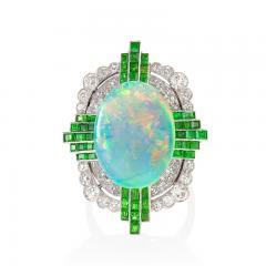 Art Deco Opal Ring with Diamond and Demantoid Garnet - 1232484