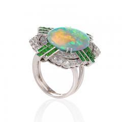Art Deco Opal Ring with Diamond and Demantoid Garnet - 1232485