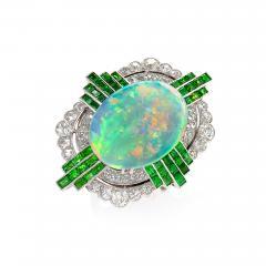 Art Deco Opal Ring with Diamond and Demantoid Garnet - 1232499