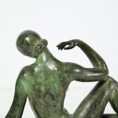 Art Deco Patinated Figurative Bronze Sculpture Signed Marguerite Anne de Blonay - 1949943