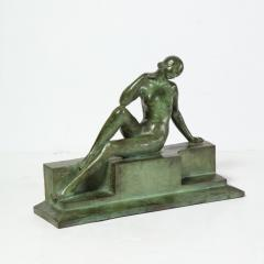 Art Deco Patinated Figurative Bronze Sculpture Signed Marguerite Anne de Blonay - 1949954
