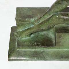 Art Deco Patinated Figurative Bronze Sculpture Signed Marguerite Anne de Blonay - 1949957