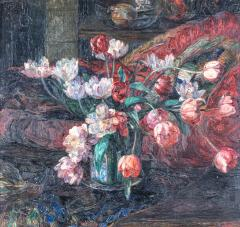 Art Deco Period Still live painting with tulips signed mon  - 1927847