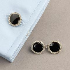 Art Deco Platinum Onyx and Diamond Cuff Links - 129855