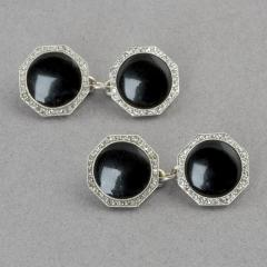 Art Deco Platinum Onyx and Diamond Cuff Links - 129874