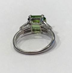 Art Deco Platinum Peridot Diamond Ring C 1920 - 1190467