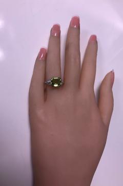 Art Deco Platinum Peridot Diamond Ring C 1920 - 1190469