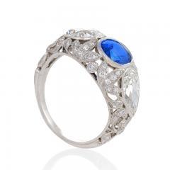 Art Deco Platinum Ring with Sapphire and Diamonds - 1232486