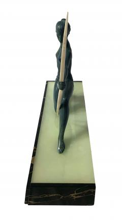 Art Deco Sculpture Diana kneeling by Gual Bronze Ivory France circa 1928 - 1903880