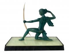 Art Deco Sculpture Diana kneeling by Gual Bronze Ivory France circa 1928 - 1903881