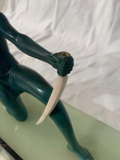 Art Deco Sculpture Diana kneeling by Gual Bronze Ivory France circa 1928 - 1903882