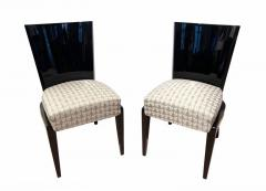 Art Deco Side or Dining Chairs Black Lacquer Grey Fabric France circa 1930 - 1488073