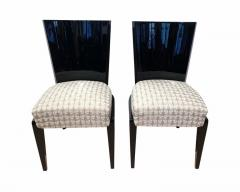 Art Deco Side or Dining Chairs Black Lacquer Grey Fabric France circa 1930 - 1488074