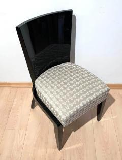 Art Deco Side or Dining Chairs Black Lacquer Grey Fabric France circa 1930 - 1488076
