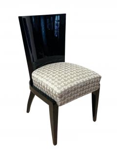 Art Deco Side or Dining Chairs Black Lacquer Grey Fabric France circa 1930 - 1488077