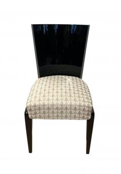 Art Deco Side or Dining Chairs Black Lacquer Grey Fabric France circa 1930 - 1488078