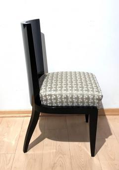 Art Deco Side or Dining Chairs Black Lacquer Grey Fabric France circa 1930 - 1488082