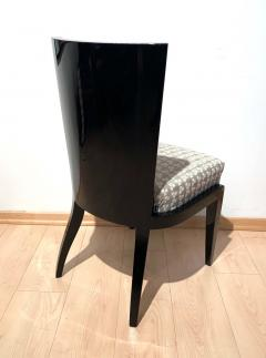 Art Deco Side or Dining Chairs Black Lacquer Grey Fabric France circa 1930 - 1488085