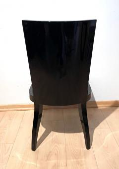 Art Deco Side or Dining Chairs Black Lacquer Grey Fabric France circa 1930 - 1488086