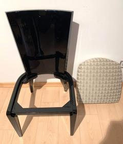 Art Deco Side or Dining Chairs Black Lacquer Grey Fabric France circa 1930 - 1488092