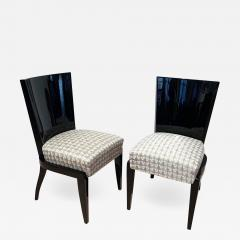 Art Deco Side or Dining Chairs Black Lacquer Grey Fabric France circa 1930 - 1514855