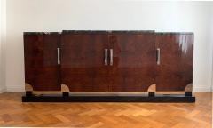 Art Deco Sideboard Walnut Roots Green Marble Southern France circa 1930 - 1504392