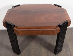 Art Deco Streamlined Octagonal Occasional Table in Bookmatched Burled Walnut - 1522617