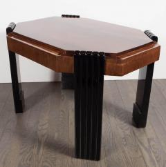 Art Deco Streamlined Octagonal Occasional Table in Bookmatched Burled Walnut - 1522620