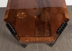 Art Deco Streamlined Octagonal Occasional Table in Bookmatched Burled Walnut - 1522630