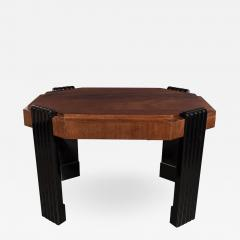Art Deco Streamlined Octagonal Occasional Table in Bookmatched Burled Walnut - 1523039