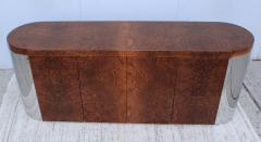 Art Deco Style Burl wood And Chrome Credenza - 1408794
