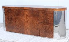 Art Deco Style Burl wood And Chrome Credenza - 1408795