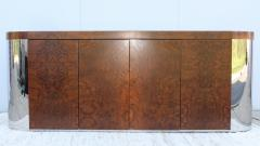 Art Deco Style Burl wood And Chrome Credenza - 1408796