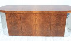 Art Deco Style Burl wood And Chrome Credenza - 1408797